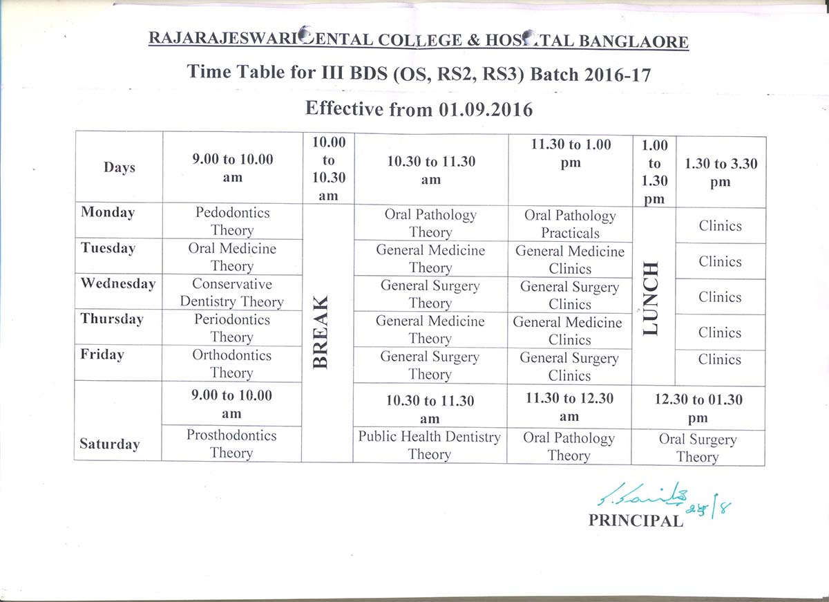 Time table rrdch for Rtu 4th sem time table