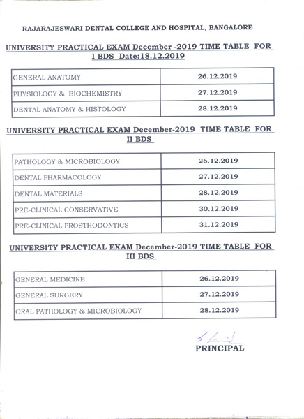Practical time table 2019