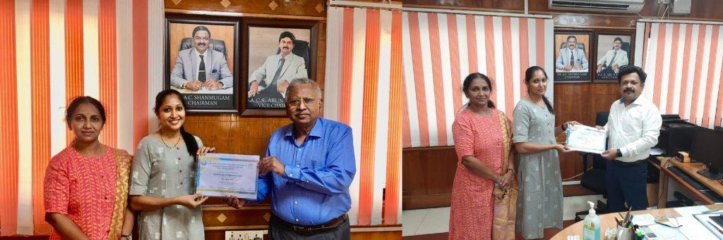 Congratulations Dr. Jaya. A. R